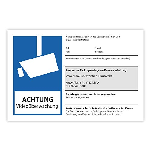 Hinweis-Schild Achtung Videoüberwachung I 30 x 20 cm I 3 mm I BDSG EU-DSGVO Beschilderung zum Ausfüllen - Info Betreiber I wetterfest I hin_300