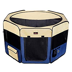 Aivituvin Dog Portable Playpen Exercise Pen for Small & Large Doggie Puppy Kitten Rabbit Pop Up Cat Kennel Indoor/Outdoor Use,Top Load
