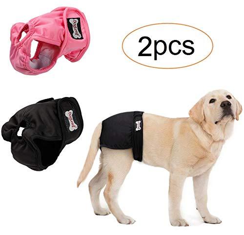 Oyccen 2PCS Weibliche Hund Physiologische Hose Waschbare Menstruations Hygiene Unterwäsche Haustier Windeln Sanitär Höschen für Kleine Mittlere und Große Hunde