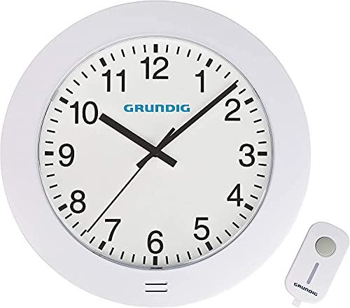 Grundig - Reloj de pared con timbre, indicación de la hora analógica, 45 tonos - 36 melodías y 9 tonos de alarma, alcance de radio 180m , incluyendo 5 niveles de volumen