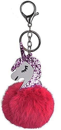 Llavero Unicornio - Pom Pom - Fucsia - Idea de Regalo de cumpleaños