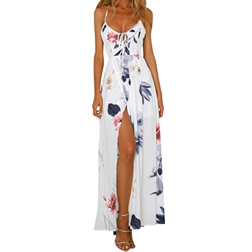 Kleid Damen Kolylong® Frauen Elegantes V-Ausschnitt Blumen gedrucktes ärmelloses langes Kleid Reizvolles rückenfreies Kleid Böhmisches Kleid Partykleid Abendkleid Strandkleid (M, White)