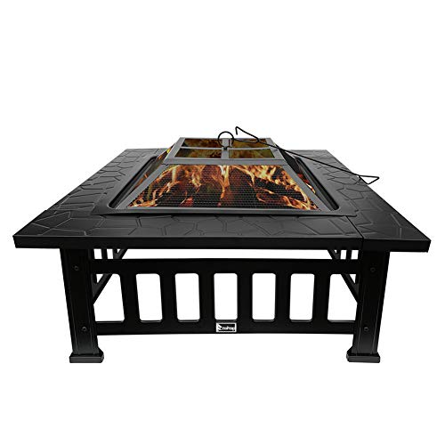 Firepit Square Table, Outdoor Fire Pit Table 32 Inch Firepit Iron Brazier Wood Burning Coal Pit with Grilling Net Cover for Outdoor Heating Bonfire and Picnic