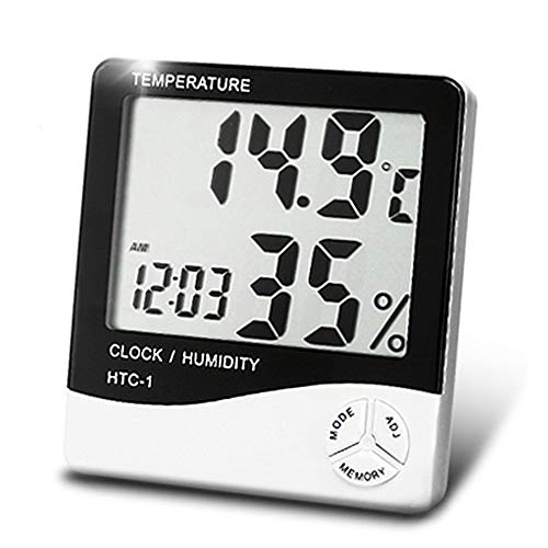 DBest Choice Plastic Standard HTC Digital Display Room Temperature Humidity Meter Tabletop or Wall Mount Clock with Thermometer, Calendar, Time and Alarm (White and Blue)