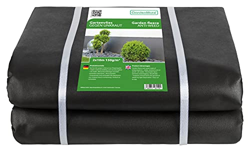 GardenMate 2m x 10m Telo per Pacciamatura 150 g/m² - Telo Antistrappo Contro Le Erbacce - Elevata stabilizzazione ai Raggi UV - Permeabile - 2m x 10m = 20 m²