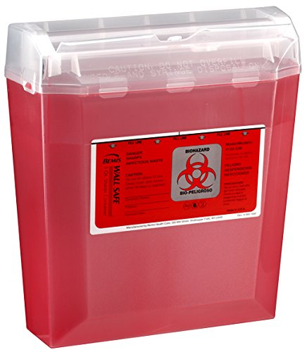 Bemis Healthcare 150030-5 5 Quart Wall Safe Sharps Container, Translucent Red (Pack of 5)
