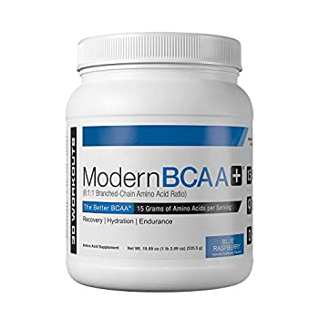 Modern BCAA+ Essential Amino Acid  EAA  Branched Chain Amino Acid  BCAA  Muscle Recovery Supplement Powder Drink Mix - 30 Servings  Blue Raspberry
