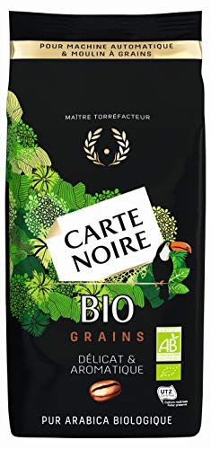 Carte Noire Bio, Café en Grains Torréfiés, Pur Arabica Biologique, Paquet de 500 g