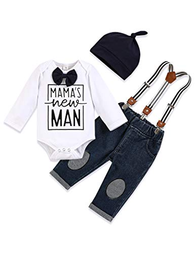 Yoveme Baby Boys Clothes Gentleman Outfits Newborn Infant Dress Suit Bow Ties Rompers Top + Suspenders Pants 0-3 Blue