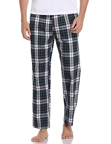 pantaloni uomo quadri scozzesi Litherday Pantaloni Pigiama Uomo 100% Cotone Pantaloni Uomo Pantaloni Pigiama a Quadri Pantaloni Casual da Uomo Pigiama Casual da Casa Comodo e Morbido Pantaloni Verde bianco XXL