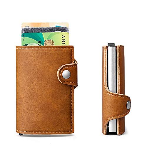 BEIKE Portatarjetas De Cuero Slim Pocket Pocket RFID Block Tarjeta