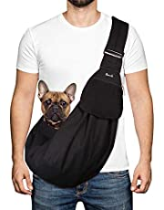 SlowTon Pet Carrier, Hand Free Sling Adjustable Padded Strap Tote Bag Breathable Cotton Shoulder Bag Front Pocket Safety Belt Carrying Small Dog Cat Puppy Machine Washable (Black Water-Resistant)