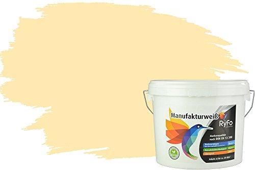RyFo Colors Bunte Wandfarbe Manufakturweiß Samtgelb 6l - weitere Gelb Farbtöne und Größen erhältlich, Deckkraft Klasse 1, Nassabrieb Klasse 1