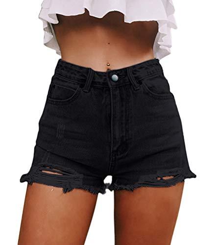ORANDESIGNE Donna Pantaloncini Vita Alta Corti Estivi Shorts in Jeans Sexy Pantaloncini Corti Sfilacciati 01 Nero Medium