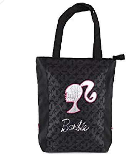 Barbie Bolsa de Tela para Playa, Color Negro/Plata y Rosa