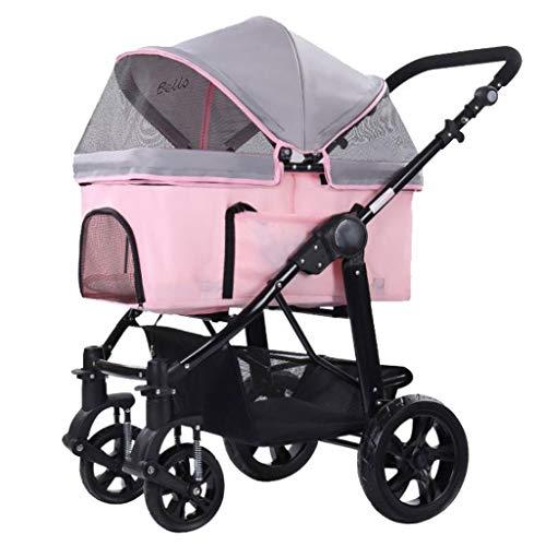 WGYDREAM Passeggino per Cani Carrello per Animali Piccolo Gatto Fuori Carrello Car Jogger Carrozzina Pieghevole Sedile della Carrozzina del 4 Ruote di Grandi Dimensioni dello Spazio (Color : Pink)