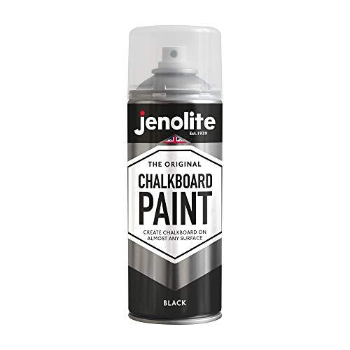 JENOLITE Pintura en aerosol de pizarra – negro – 400 ml (Crea y renueva pizarras en prácticamente cualquier superficie)