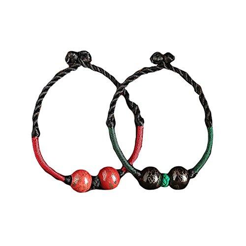 2 pièces Vert et rouge en céramique faits à la main Bracelets tissés 15 CM Bracelets