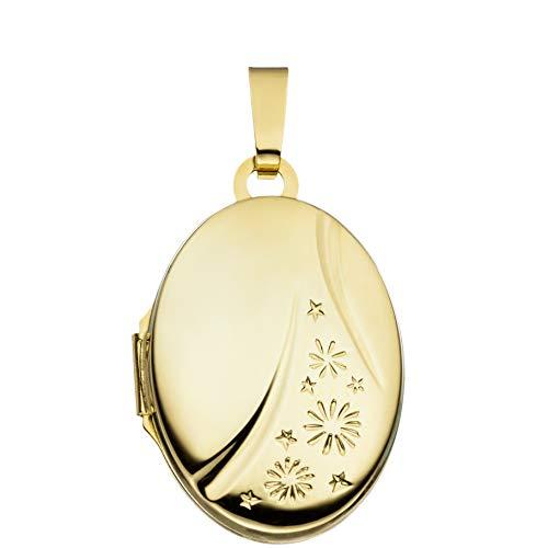 Medaillon Herz Hochglanz verziert 585 Gelbgold 14 Karat Gold zum Öffnen für Bildereinlage 2 Fotos/Bilder Amulett Sterne Verzierung von Haus der Herzen® mit Schmuck-Etui