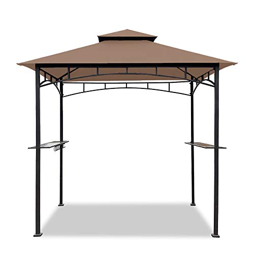 Easylee 5'x8' BBQ Grill Gazebo Outdoor Double Tiered Canopy Tent, with LED Light, UV Resistant and Waterproof Fabric (Khaki)