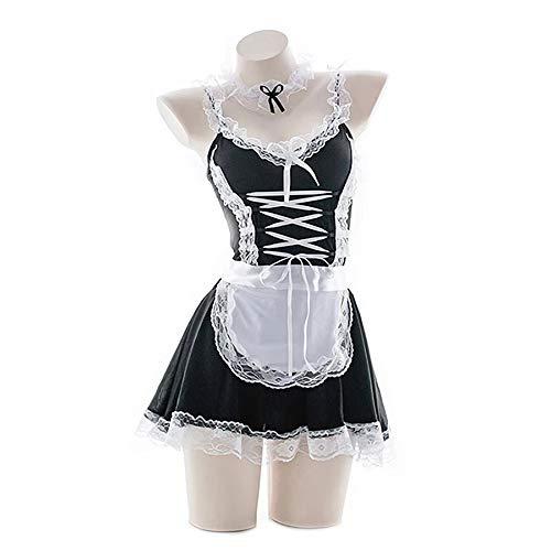 JasmyGirls Disfraz sexy de criada francesa para mujer, disfraz de anime para cosplay, ropa interior, vestido de rol, delantal de encaje travieso