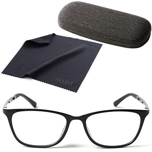MIDI ワンランク上の超軽量メガネ (近眼用) ブラックデニム地のハードケース付き レンズ度数を左右別に変更可能 メガネ 眼鏡 めがね おしゃれ 度付き 度入り 近眼 ウェリントン メンズ 近視 (ブラック/PD 58mm/レンズ度数 -2.00) (m