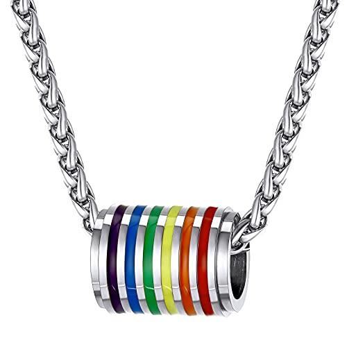 GoldChic Jewelry Collana Con Cilindro Arcobaleno Per Donna, Gioielli In Acciaio Gay Pride Charm Lgbt, Regali Per Lesbiche