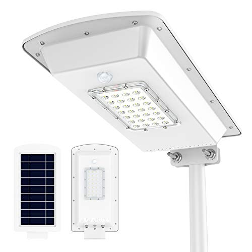 TENKOO Solar Street Lights, Outdoor Solar Powered Street Lights Dusk to Dawn with Motion Sensor, Waterproof IP65 Outdoor Security Led Flood Light for Yard, Garden, Street, Basketball Court