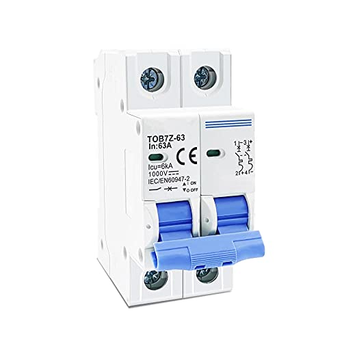 Mini disyuntor solar 2P DC 1000V 3A 6A 10A 16A 20A 25A 32A 40A 50A 63A DC MCB para PV System-50A