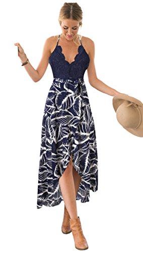 Blooming Jelly Frauen Halter Plunge V-Ausschnitt Lace Asymmetrische Floral Maxi Kleider für Damen Sommer S, blau