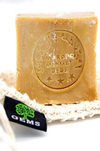 GEMS Original Aleppo Seife, 60% Olivenöl 40% Lorbeeröl, ca.200g, Handmade, Vegan, Naturprodukt, Haarseife, Duschseife, Original Rezeptur