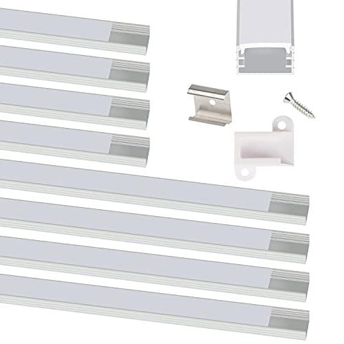 COOLWEST LED Profil 8er-Pack, 0,5M und 1M LED Alu Profil U-Form Mit Diffusor Milchig, Endkappen und Montageclips, LED Aluminium Profil, Led Kanal Indirekte Beleuchtung für LED Streifen/Leiste bis 13mm