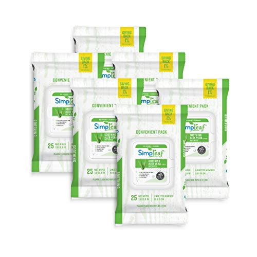 Simpleaf Flushable Wet Wipes | Eco- Friendly, Paraben & Alcohol Free | Hypoallergenic & Safe for Sensitive Skin | Soothing Aloe Vera & Vitamin E Formula | (25-Count) 6 Pack