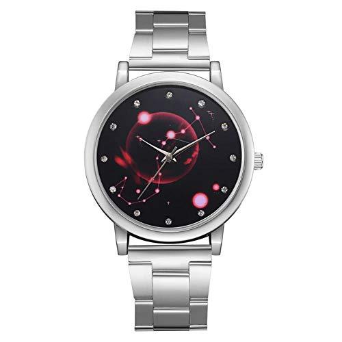 Dilwe Lady Quarz Uhr, Einfache Uhr mit Strass Zifferblatt und Alloy Armband für Frauen