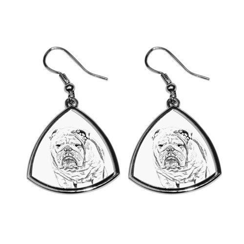 English Bulldog, collection of earrings with images of purebred dogs, unique gift