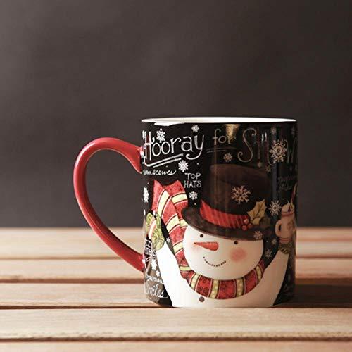 Mug Tasse Becher Kaffee Weihnachtsbecher Keramik Handgriff Porzellan SchneemannKaffeetasse Verdicken 450Ml Schwarz Rot Tassen Und Becher Großhandel, Schwarz, 450Ml