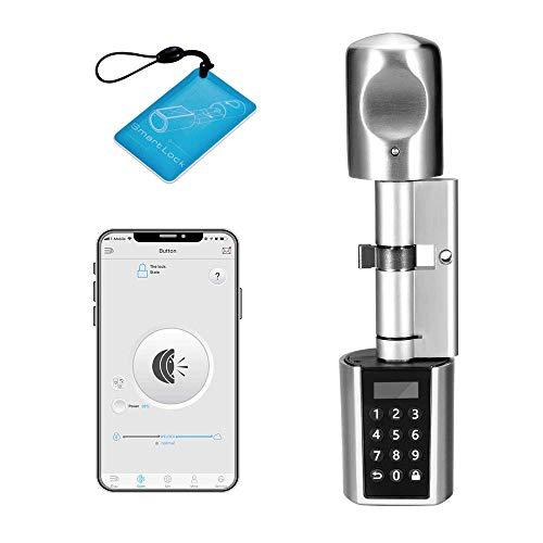 WE.LOCK Cylindre de serrure électronique à double moteur et Bluetooth avec 1 carte RFID, étui étanche