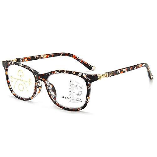 Progressives Multifokal Lesebrille für Frauen Männer Anti Blaulichtfilter Computer Brille Drahtlose Multifokale Lesebrillen(Orange,+3.0)