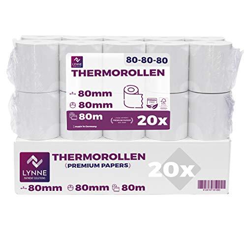 Papel térmico 80mm x 80m x 12mm - ideal para todas las cajas registradoras y TPV - Rollos para impresora térmica - (80x80x12) Blanco -Sin BPA ( 20 Rollos)