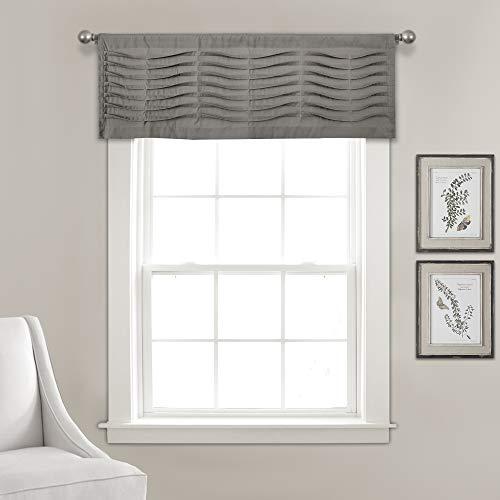 "Lush Decor, Dark Gray Wave Texture Valance | Pleated Ruffle Fold Window Kitchen Curtain (Single), 18"" x 52"