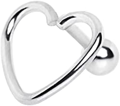 Amelia Fashion 16 Gauge Open Heart Shaped Cartilage Earring Stud 316L Surgical Steel (Sold Individually)