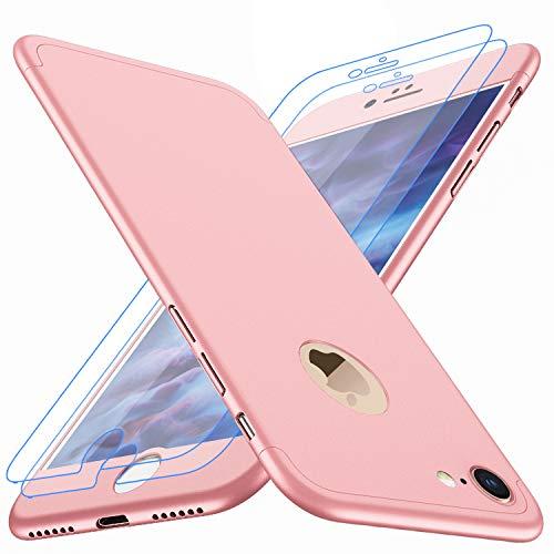 """Coque iPhone 6, Coque iPhone 6s Losvick 360 degrés avec [2-Pièces Protecteur D'écran en Verre Trempé] Housse Dur PC 3 en 1 Matte Case Anti Choc pour iPhone 6, iPhone 6s - 4.7"""" - Or Rose"""