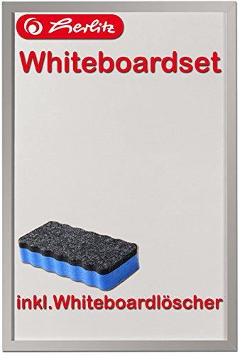 Herlitz 10524627 Whiteboard und Magnettafel, 40 x 60cm / Kombi-Set (+ Löscher, blau)