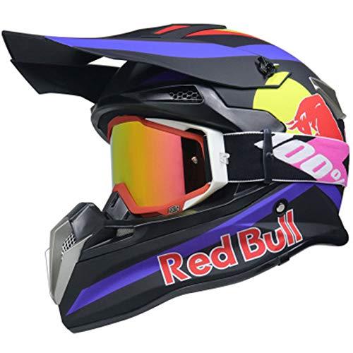Motocrosshelme Motorradhelm Motorrad Crosshelme Jugend Kinder Offroad Helm Sturzhelm Schutzhelm Helm für Motorrad Kinderquad und Crossbike Red Bull A,S=(55~56CM)