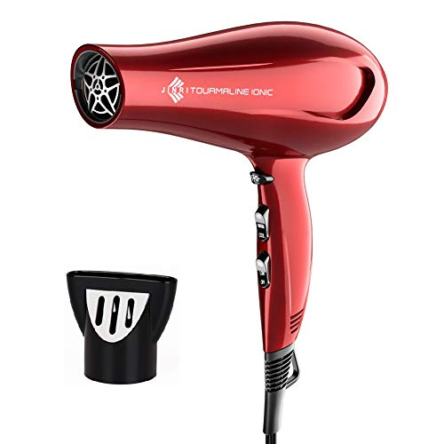 Jinri Hair Dryer Sterilization Professional Tourmaline, Negative Ionic Sterilization Blow Dryer with Concentrator, Lightweight Low Noise 1875W DC Motor Fast Dry Hair Blow Dryers, Red Color (Black)