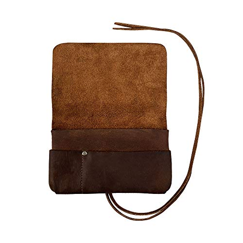 Hide & Drink, Rustic Leather King Size Tobacco Pouch, Smoking and Field Notes Case, Classic Birthday & Anniversary Gifts, Smoking Essentials Handmade Includes 101 Year Warranty :: Bourbon Brown