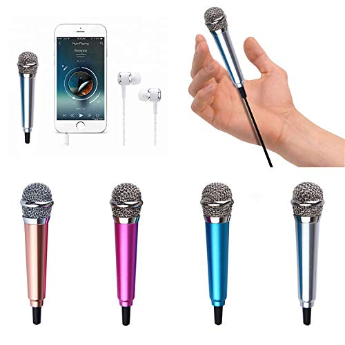 Mini Microphone,Singing Mic Equipment,Beautiful Vocal Quality,Mini Type Space Saving,Metal Frothing Process,Suitable for Laptop, iPhone, Android Phone 3.5mm Audio Connector