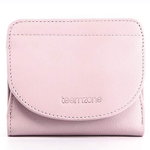 Geldbörse Damen,Klein Geldbeutel Frauen Echtes Leder,RFID Blocker,mit Münzfach Kleines Portemonnaie Mini Portmonee Brieftasche Mädchen Flache Rosa NFC Schutz TEEMZONE