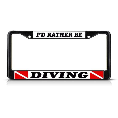 Fastasticdeals I'd Rather Be Diving Scuba License Plate Frame Tag Holder Cover