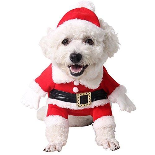 LSERVER Chien Vêtements Manteau d'Hiver Chiot Chien Chat Animaux Domestiques Costume Déguisement Père Noël Halloween, Rouge, XL ?Pour animal 25-30kg?